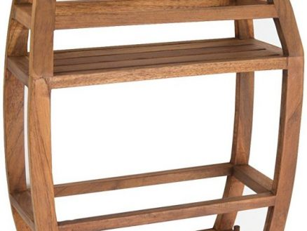 using teak shower caddy to store your daily use shower products