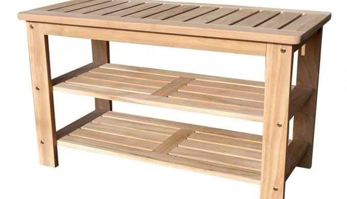 D-ART Teak Outdoor Shoe Bench