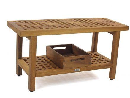 Original 36u2033 GRATE Teak Shower Bench With Shelf