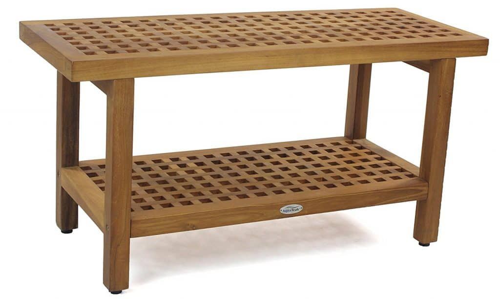 "Best Original 36"" Grate Teak Shower Bench with Shelf"