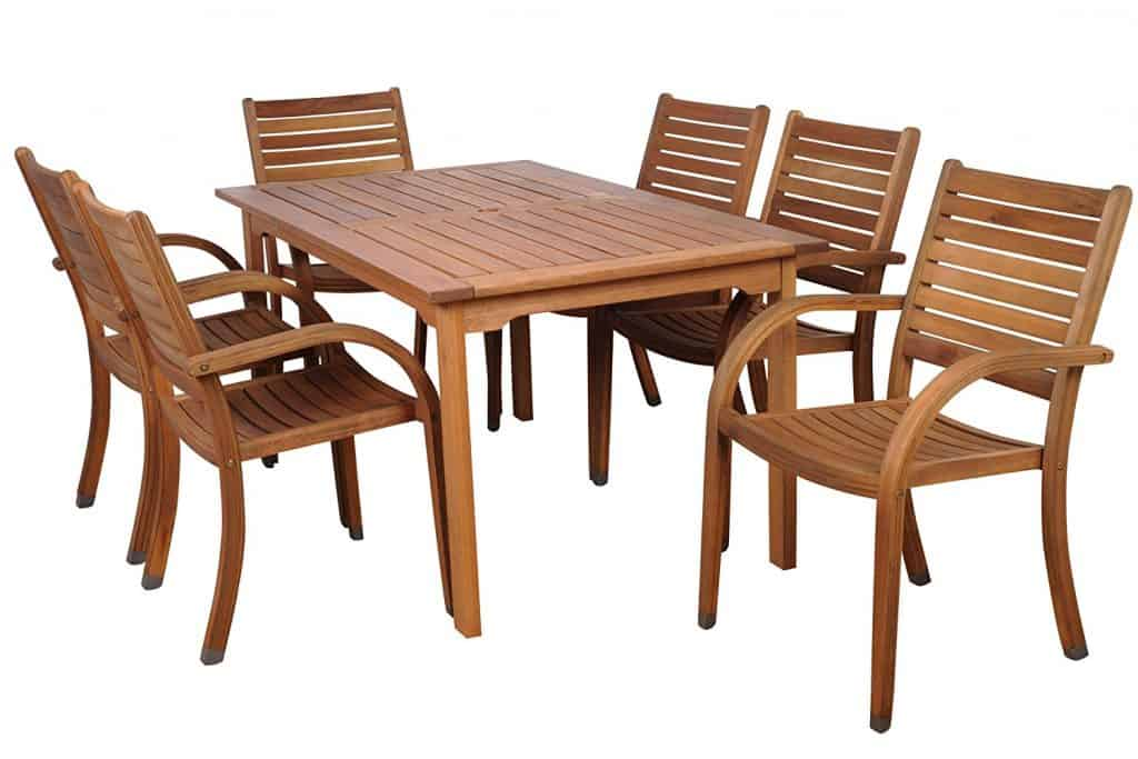 Best Amazonia Arizona 7-Piece Eucalyptus Rectangular Dining Set