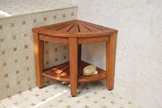 teak shower corner stool