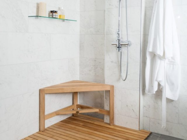 Best Arb Spateak Fiji Teak Corner Shower Bench With Shelf Best