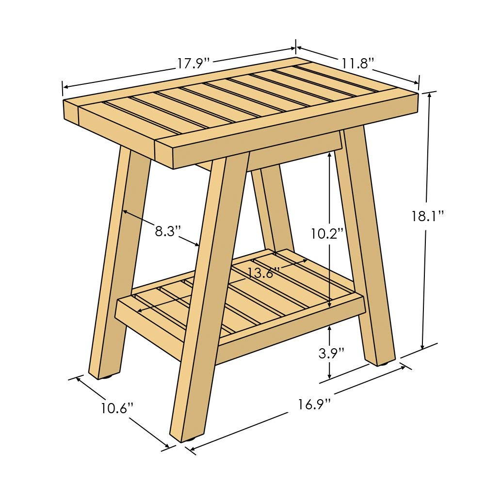 Asta Spa Teak Shower/Bath Stool dimensions