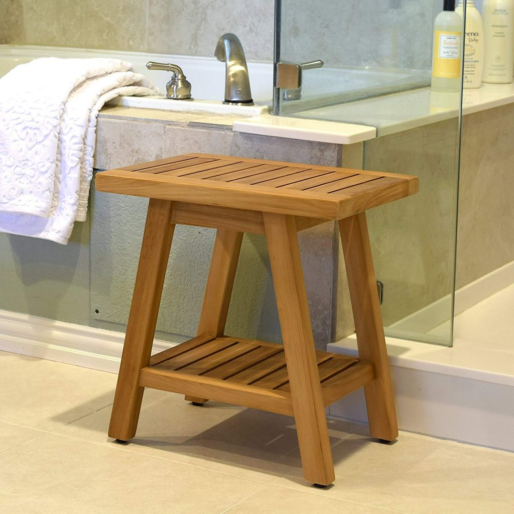 Asta Spa Teak bath Stool with Shelf
