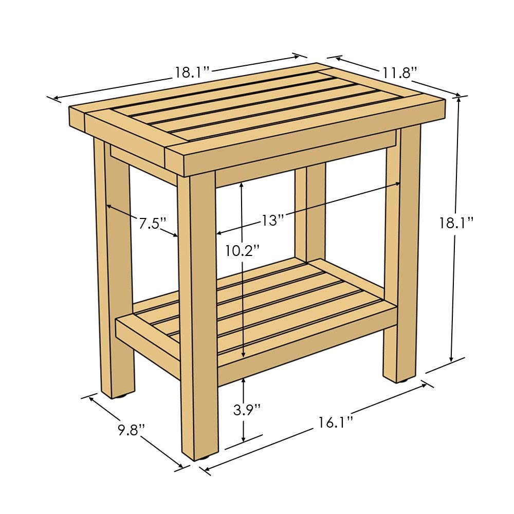 Asta Spa Teak Shower Stool with Shelf dimensions