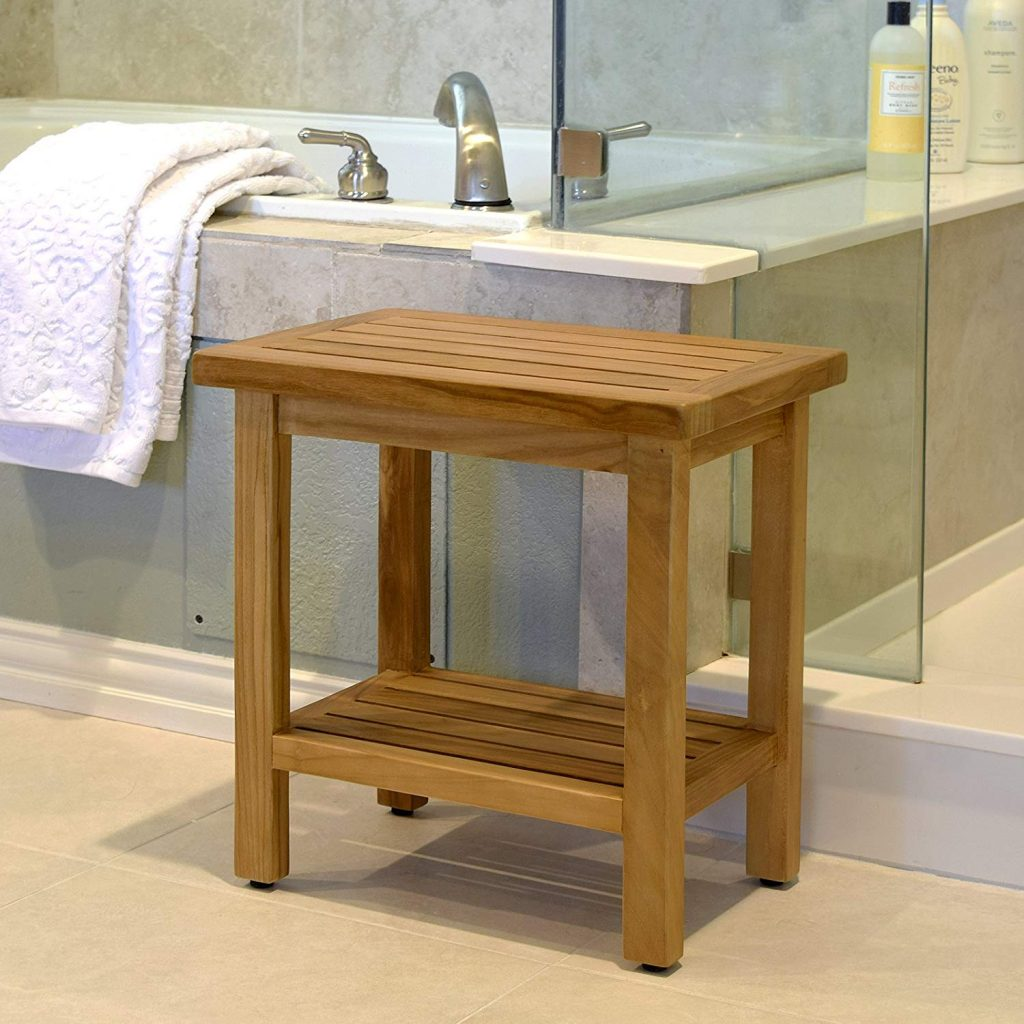 Asta Spa Teak Shower bench with Shelf