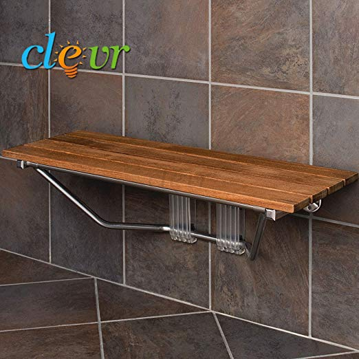 Best wall mount folding teak shower bench from Clevr - Teak furniture